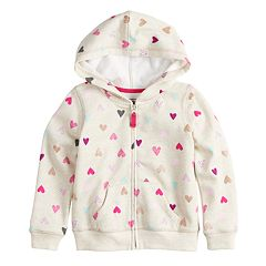 Baby Girl Jumping Beans® Glittery Heart Softest Fleece Hoodie
