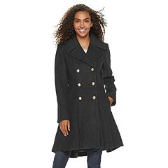 Women's LNR Fashion Styles Fit & Flare Wool Blend Coat
