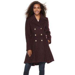 Women's LNR Fashion Styles Fit & Flare Wool Blend Coat