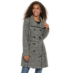 Women's LNR Fashion Styles Double-Breasted Wool Blend Coat