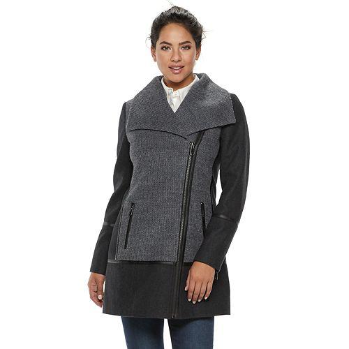 Women's LNR Fashion Styles Colorblock Asymmetrical Wool Blend Jacket