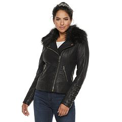 Women's LNR Fashion Styles Faux-Fur Asymmetrical Moto Jacket