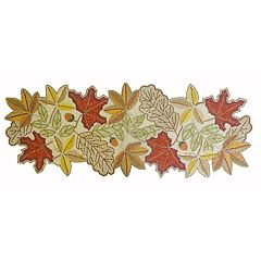Celebrate Fall Together Beaded Leaf Table Runner - 36'