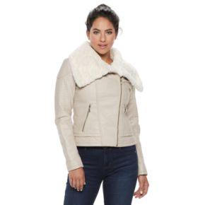 Women's LNR Fashion Styles Faux-Fur Asymmetrical Moto Jacket