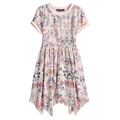 Girls 7-16 Three Pink Hearts Floral Short Sleeve Skater Dress