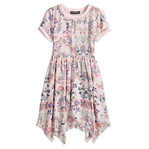 Girls 7-16 Three Pink Hearts Floral Short Sleeve Skater Dress