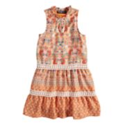 Girls 7-16 Three Pink Hearts Tassel Border Lace-Up Sleeveless Dress