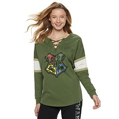 Juniors' Harry Potter House Crest Lace-Up Graphic Sweatshirt