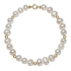 Kids' Freshwater Cultured Pearl & 14k Gold Bead Stretch Bracelet