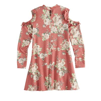 """Girls 7-16 Three Pink Hearts """"I Believe In Girl Power"""" Ruffled Cold Shoulder Dress"""
