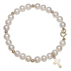 Kids' Freshwater Cultured Pearl, 14k Gold Bead & Cross Charm Stretch Bracelet
