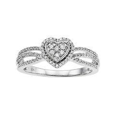 Sterling Silver 1/4 Carat T.W. Diamond Heart Ring