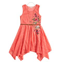 Girls 7-16 Knitworks Lace Sharkbite Belted Dress & Necklace Set