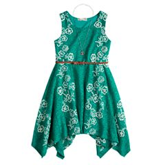 Girls 7-16 Knitworks Lace Sharkbite Belted Dress & Necklace Set