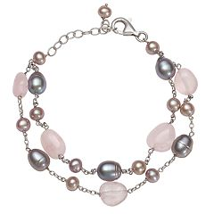 Sterling Silver Freshwater Cultured Pearl & Rose Quartz Bead Double-Strand Bracelet