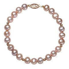 14k Rose Gold Freshwater Cultured Pink Pearl & Bead Bracelet
