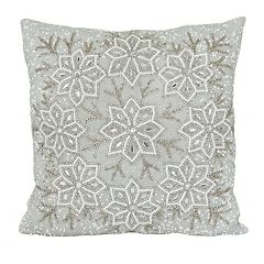 St. Nicholas Square® Snowflake Beaded Throw Pillow