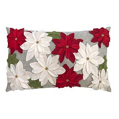 St. Nicholas Square® Poinsettia Applique Throw Pillow