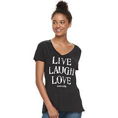 Juniors' love this life 'Live Laugh Love' Tee