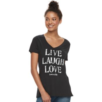 "Juniors' love this life ""Live Laugh Love"" Tee"
