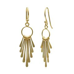 PRIMROSE 14k Gold Over Silver Graduated Paddle Drop Earrings