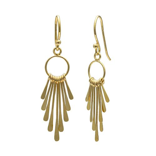 PRIMROSE 18k Gold Over Silver Graduated Paddle Drop Earrings