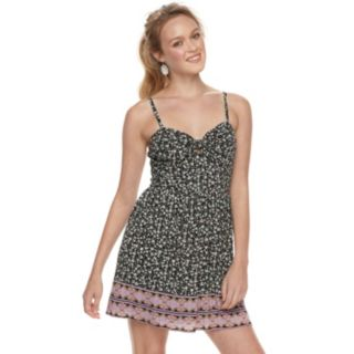 Juniors' Lily Rose Tie-Front Floral Dress