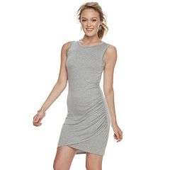 Juniors' Love, Fire Shirred Asymmetrical Bodycon Dress