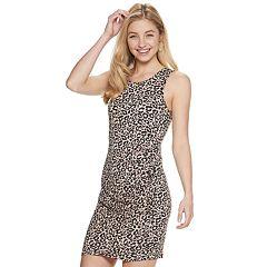 e7172501d Juniors' Love, Fire Shirred Asymmetrical Bodycon Dress