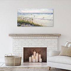 Beach Dunes With Fence Canvas Wall Art