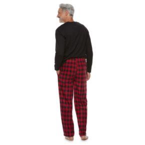 Men's Chaps Sleep Sleep henley & Plaid Fleece Sleep Pants Set
