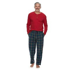 Men's Chaps Henley & Plaid Fleece Lounge Pants Set