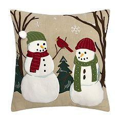 st nicholas square snowmen throw pillow - Christmas Decorative Pillows