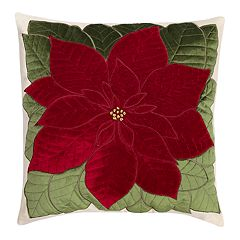 St. Nicholas Square® Poinsettia Velvet Throw Pillow