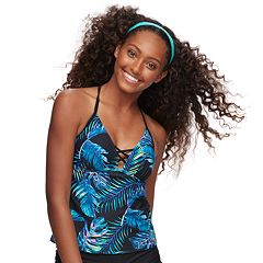 Mix and Match Palm Leaf Push-Up Tankini Top