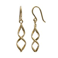 PRIMROSE 14k Gold Over Silver Corkscrew Drop Earrings