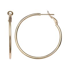 PRIMROSE 14k Gold Over Silver Polished Tube Hoop Earrings