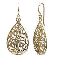 PRIMROSE 18k Gold Over Silver Filigree Teardrop Earrings