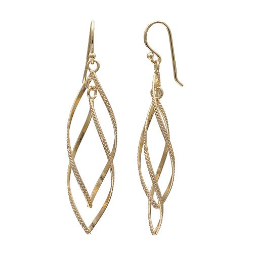 PRIMROSE 18k Gold Over Silver Double Marquise Twist Drop Earrings