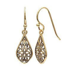 PRIMROSE 14k Gold Over Silver Filigree Teardrop Earrings