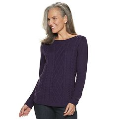 Women's Croft & Barrow® Cable-Knit Boatneck Sweater