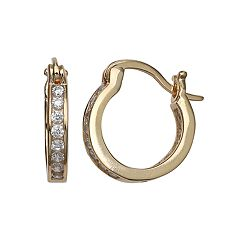 PRIMROSE 14k Gold Over Silver Cubic Zirconia Hoop Earrings