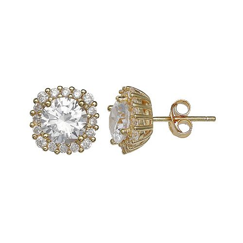 PRIMROSE 18k Gold Over Silver Cubic Zirconia Cushion Halo Stud Earrings