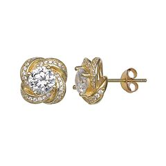 PRIMROSE 14k Gold Over Silver Cubic Zirconia Love Knot Earrings