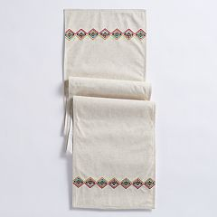Mainstreet Embroidered Linen Table Runner - 72'
