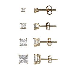 PRIMROSE 14k Gold Over Silver 4-Pair Princess Cut Cubic Zirconia Stud Earring Set
