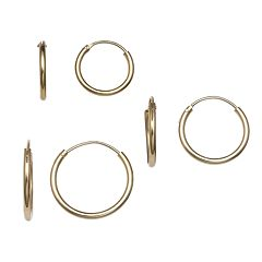 PRIMROSE 14k Gold Over Silver 3-Pair Tube Hoop Earring Set