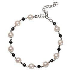 Sterling Silver Freshwater Cultured Pearl & Black Spinel Bead Station Bracelet