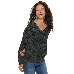 Juniors' SO® Lace-Up Back Sweater