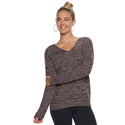 3557aafb39 Juniors  SO® Lace-Up Back Sweater